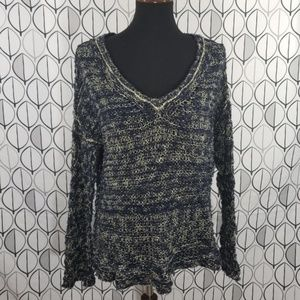 Free People Blue Yellow Loose Knit V neck Sweater